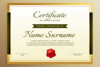 Free Vector  Premium Golden Certificate Of Appreciation regarding Awesome Thanks Certificate Template