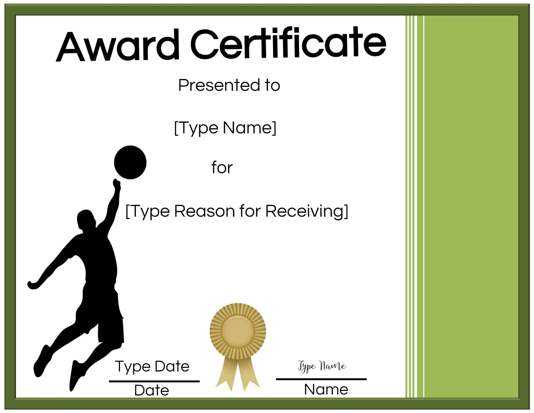 Free Volleyball Certificate  Edit Online And Print At Home pertaining to Volleyball Mvp Certificate Templates