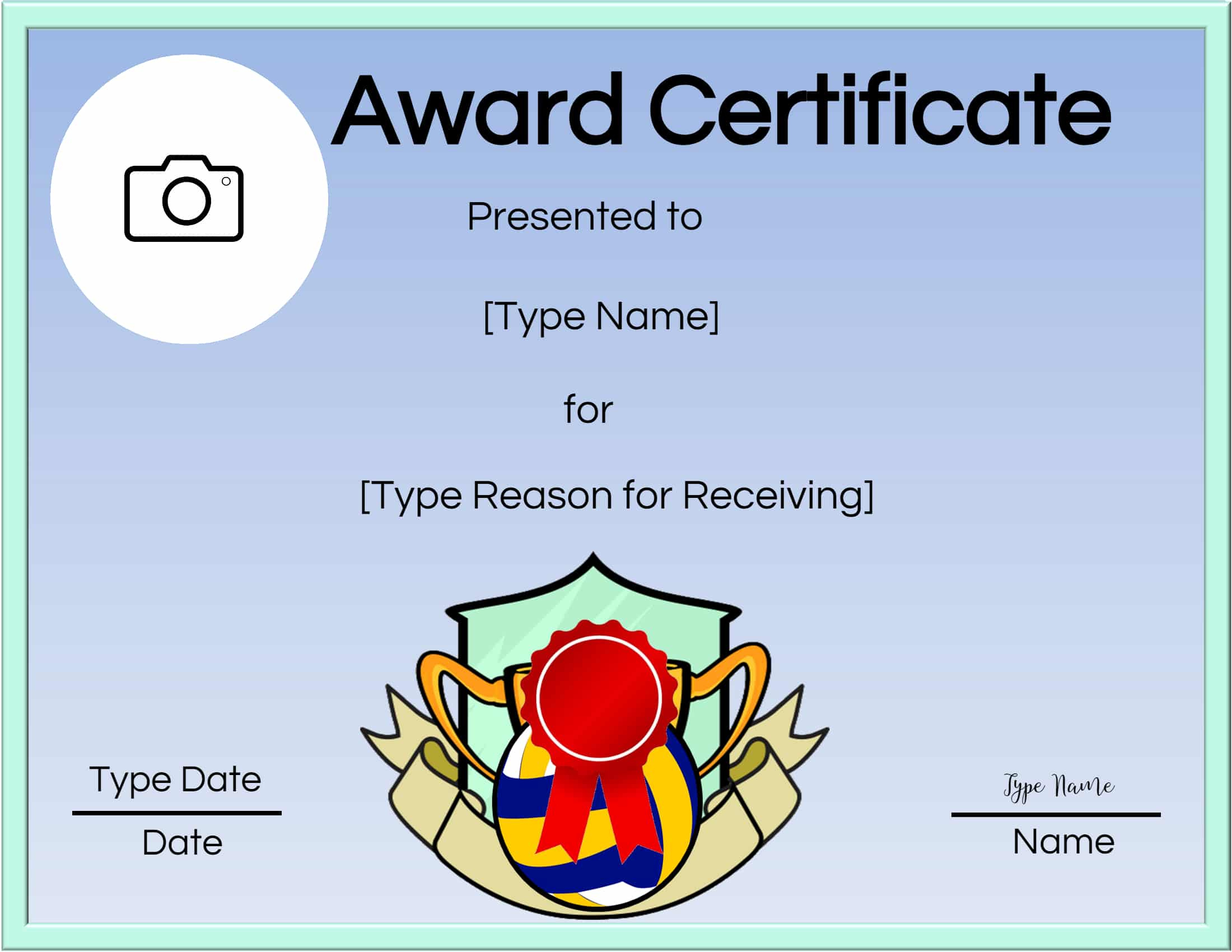 Free Volleyball Certificate  Edit Online And Print At Home regarding Volleyball Award Certificate Template Free