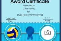 Free Volleyball Certificate  Edit Online And Print At Home with Volleyball Mvp Certificate Templates
