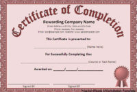 Free Word Certificate Completion Templates  Certificate within Free Certificate Templates For Word 2007