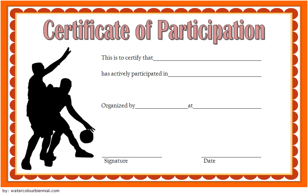 Free Youth Basketball Participation Certificate Template throughout Printable Certificate Of Participation In Workshop Template