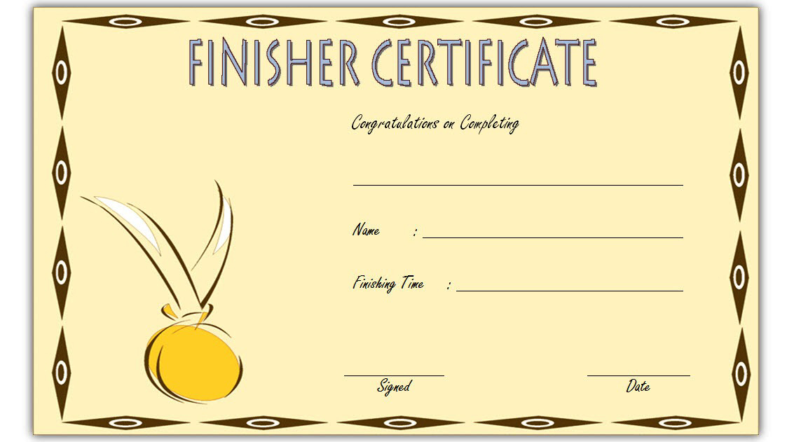 Fresh Finisher Certificate Template 7 Completion Ideas within Amazing Finisher Certificate Templates