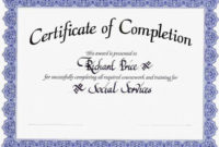 Genericcertificateofcompletion Officialexamplepdf with regard to Quality Certification Of Completion Template