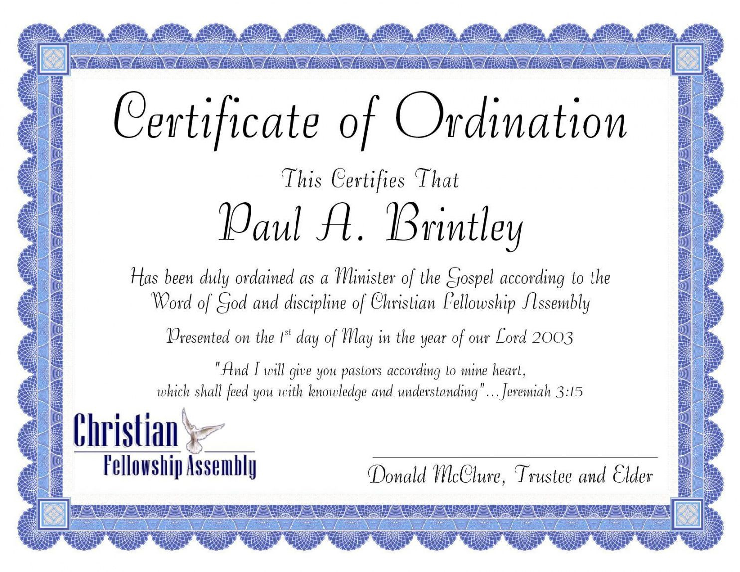 Get Our Printable Minister Ordination Certificate Template within Certificate Of Ordination Template