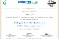 Get Six Sigma Green Belt Professional Certificate inside Awesome Green Belt Certificate Template
