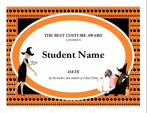 Gift Certificate Award inside Quality Halloween Costume Certificate