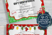 Gift Certificate  Editable Gift Certificate From Santa with Quality Kids Gift Certificate Template
