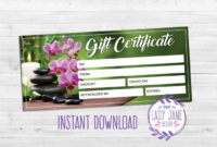 Gift Certificate Spa Day Printable  Etsy inside Amazing Spa Gift Certificate