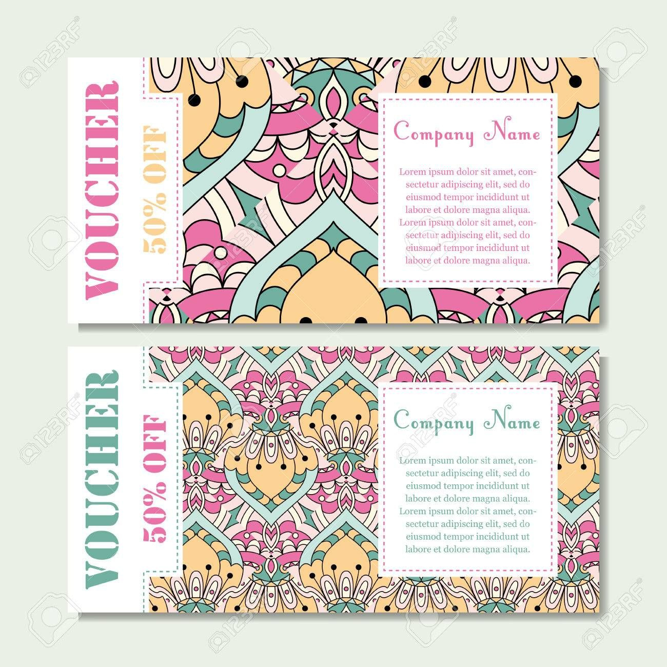 Gift Voucher Template With Mandala Design Certificate For within Magazine Subscription Gift Certificate Template