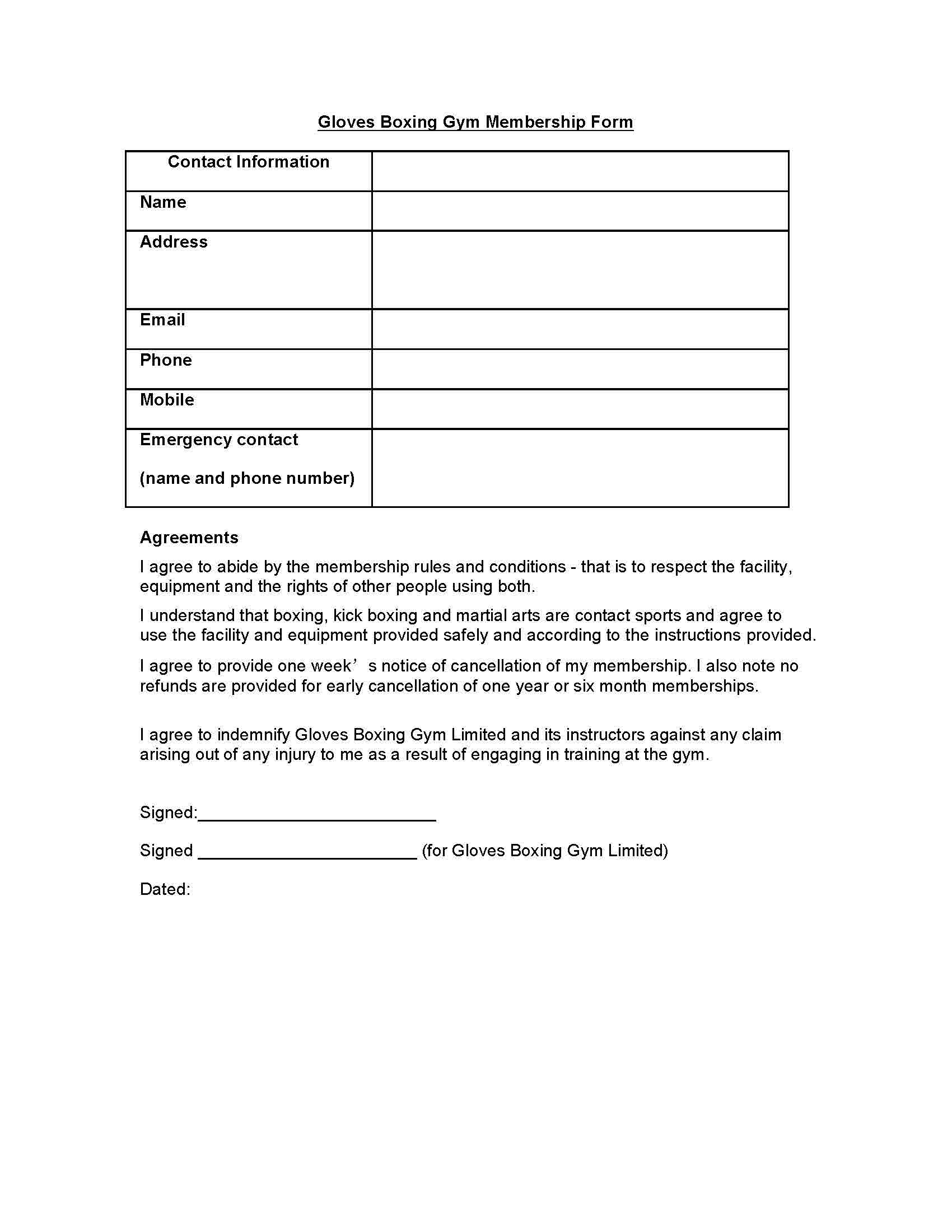 Gloves Boxing Gym Membership Form Contract Template Pdf for Printable Boxing Certificate Template