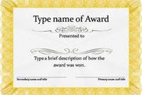 Gold Award Certificate Template  Awards Certificates inside Quality Honor Certificate Template Word 7 Designs Free