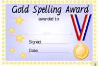 Gold Spelling Award Certificate Template Download intended for Contest Winner Certificate Template