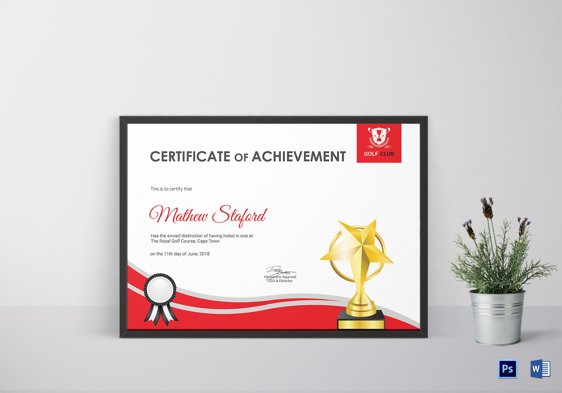Golf Achievement Certificate Design Template In Psd Word pertaining to Golf Certificate Template Free