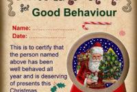 Good Behaviour Certificate Rooftoppostcouk  Christmas within Best Good Behaviour Certificate Templates