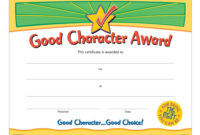 Good Character Award Gold Foilstamped Certificates pertaining to Quality Certificate For Best Dad 9 Best Template Choices