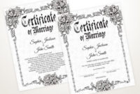 Gothic Wedding Editable Certificate Template Printable with Awesome Wedding Gift Certificate Template