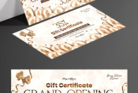 Grand Opening  Free Gift Certificate Template In Psd pertaining to Elegant Gift Certificate Template