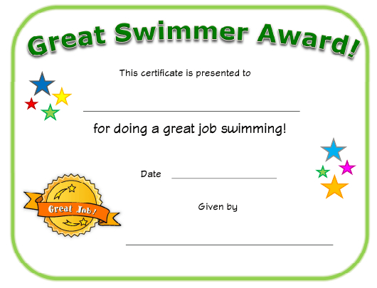 Great Swimmer Award Certificate Template Download throughout Awesome Star Reader Certificate Templates