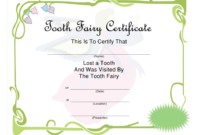 Green Tooth Fairy Certificate Template Download Printable intended for Tooth Fairy Certificate Template Free