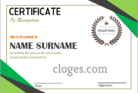 Green Word Certificate Of Recognition Template in Certificate Of Recognition Template Word