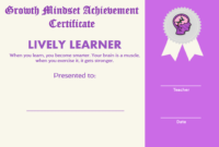Growth Mindset Achievement Certificates For Kids Purple regarding Outstanding Effort Certificate Template