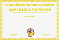 Growth Mindset Achievement Certificates For Teens Yellow in Awesome Outstanding Effort Certificate Template