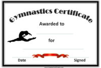 Gymnastics Award Certificate With A Picture Of A Gymnast with regard to Swimming Achievement Certificate Free Printable