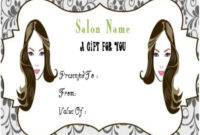 Hair Salon Gift Certificate  Gift Certificate Template intended for Printable Salon Gift Certificate