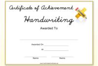 Handwriting Achievement Certificate Template Download regarding Badminton Achievement Certificate Templates