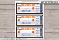 Hanukkah Basketball Ticket Gift Voucher  Printable pertaining to Printable Basketball Gift Certificate Templates