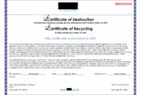 Hard Drive Destruction Certificate Template  Great Sample with regard to Free Certificate Of Destruction Template