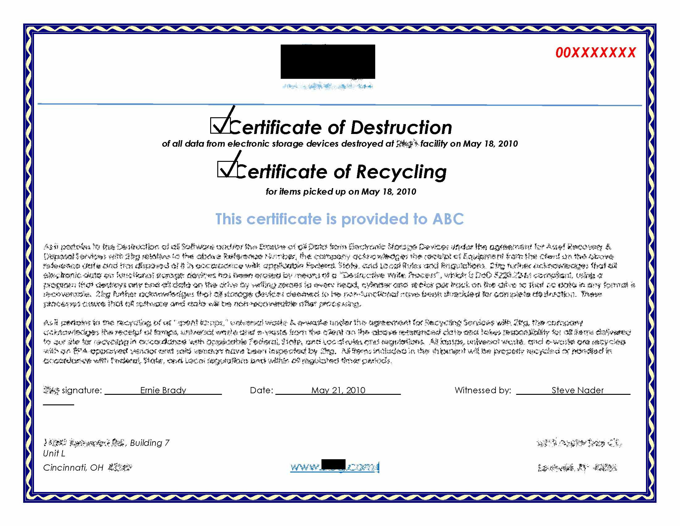 Hard Drive Destruction For Copier Mfp Printers with regard to Certificate Of Disposal Template