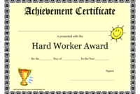 Hardworkerawardprintablecertificateachievement regarding Free Best Costume Certificate Printable Free 9 Awards