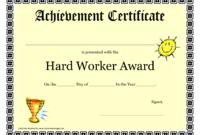 Hardworkerawardprintablecertificateachievement regarding Swimming Achievement Certificate Free Printable