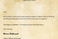 Harry Potter Certificate Template New Invitation Letter regarding Harry Potter Certificate Template