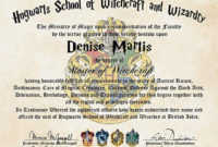 Harry Potter Diploma  Carlynstudio in Free Harry Potter Certificate Template