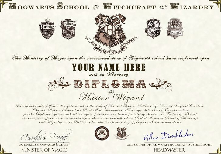 Harry Potter Diploma  Carlynstudio intended for Free Harry Potter Certificate Template