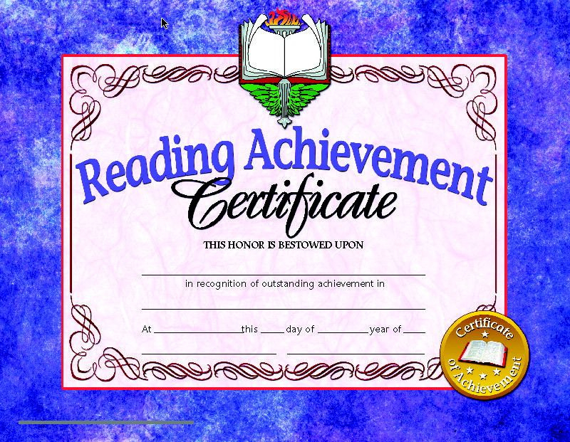 Hayes Reading Achievement Certificate 81/2 X 11 In intended for Printable Reader Award Certificate Templates