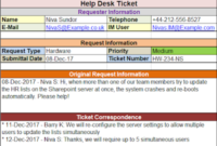 Help Desk Ticket Template  Free Project Management Templates pertaining to Project Management Issues Log Template