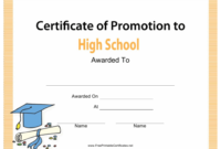 High School Certificate Of Promotion Template Download throughout Outstanding Volunteer Certificate Template
