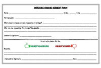High School Schedule Change Request Formthe Cuckoo within Best Change Management Log Template