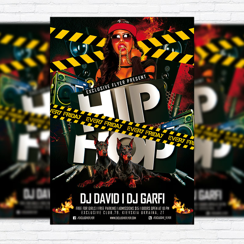 Hip Hop Party  Premium Psd Flyer Template  Exclsiveflyer for Hip Hop Certificate Templates