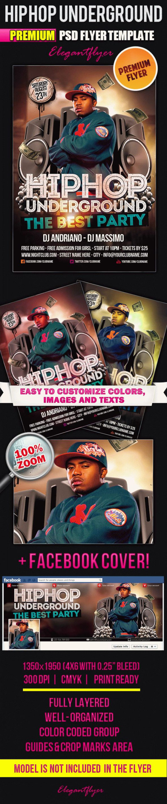 Hip Hop Underground  Flyer Psd Template Elegantflyer pertaining to Hip Hop Certificate Template 6 Explosive Ideas