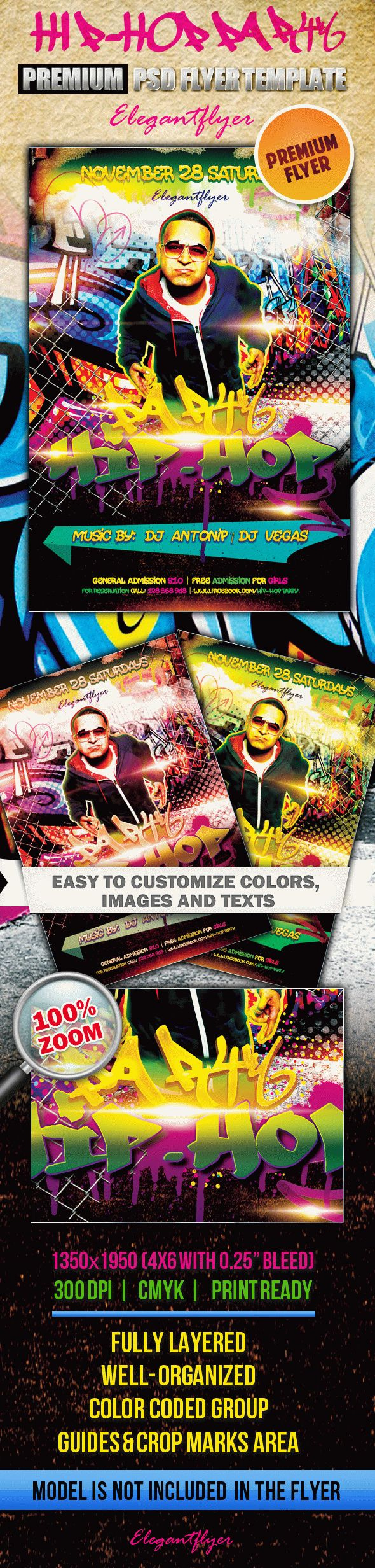 Hiphop Party  Premium Club Flyer Psd Template intended for Printable Hip Hop Certificate Template 6 Explosive Ideas