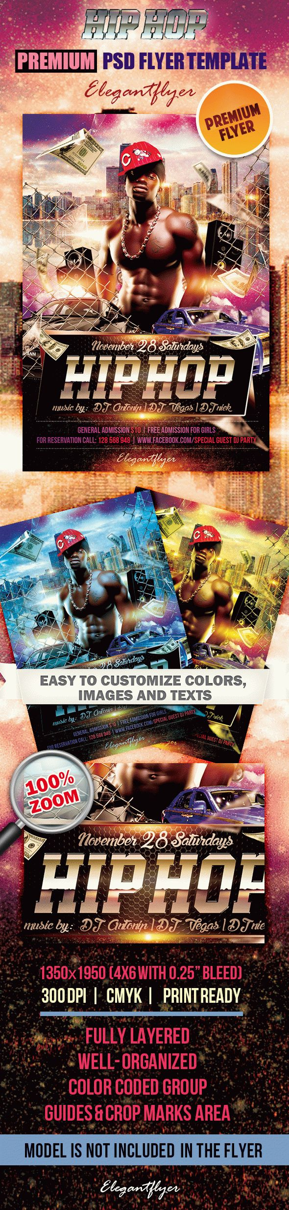 Hiphop  Premium Club Flyer Psd Template Elegantflyer regarding Printable Hip Hop Certificate Template 6 Explosive Ideas