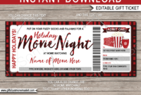 Holiday Family Movie Night Ticket Template  Gift Voucher for Best Movie Gift Certificate Template