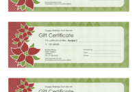 Holiday Gift Certificate Poinsettia Design 3 Per Page for Holiday Gift Certificate Template Free 10 Designs