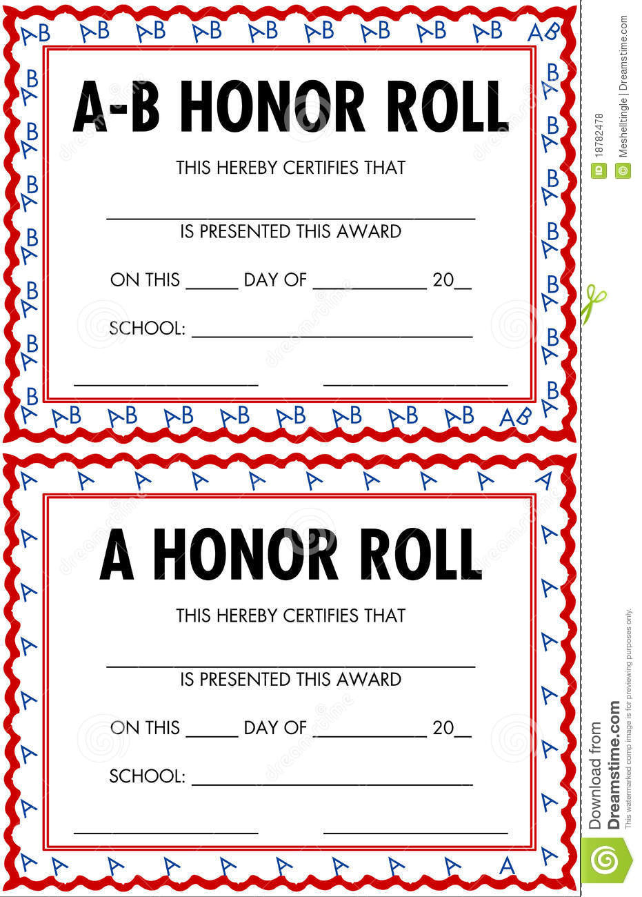 Honor Roll Certificates Stock Vector Illustration Of with regard to Honor Award Certificate Template