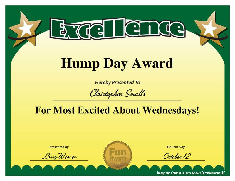 """Hump Day Award  Seriously  Yes From """"101 Funny Employee with regard to Student Council Certificate Template 8 Ideas Free"""
